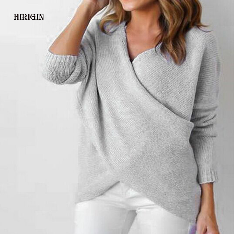HIRIGIN Womens Long Sleeve Sweater Winter Pullover Solid Knitted Sweater Top for Women Autumn Female Oversized Sweater