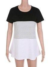 Women Patchwork Striped Pink Black Short Regular Sleeve