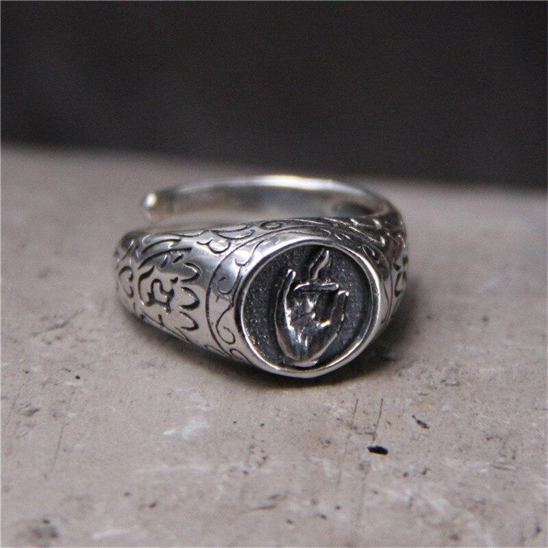 100% стерлингового серебра 925 РЕЗНЫЕ Буддизм стороны кольца для Для мужчин Для женщин тайский серебро Личность ювелирные изделия Открыть ман...