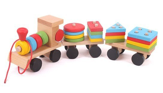 Candice guo! Colorful Wooden toy intellectual toy train shape building block vehicle 1set