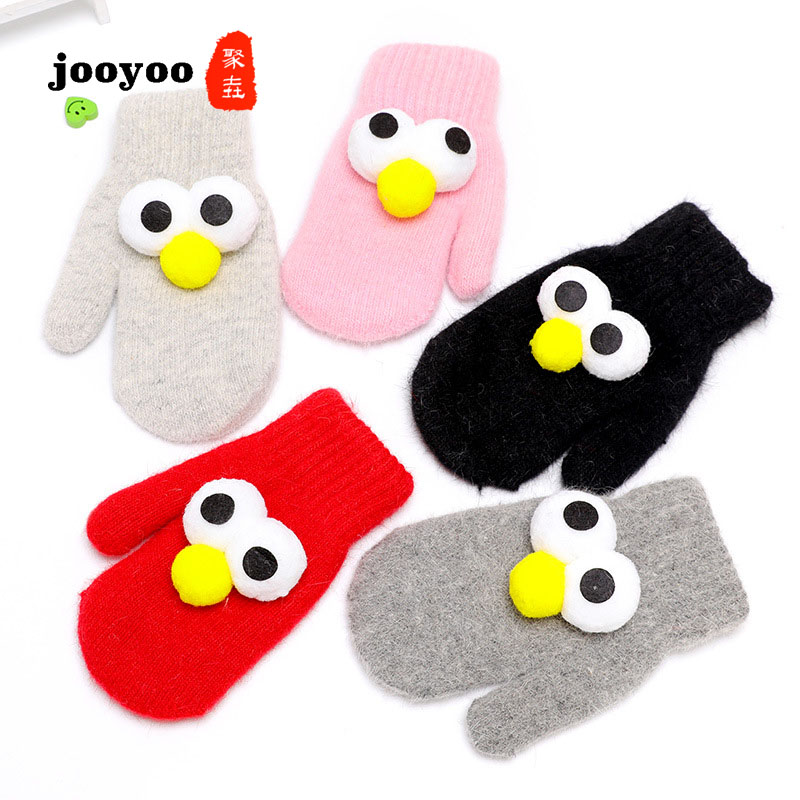 Children's Rabbit Hair Cartoon Gloves Plus Velvet Warm Cartoon Head Mittens Wool Gloves Jooyoo