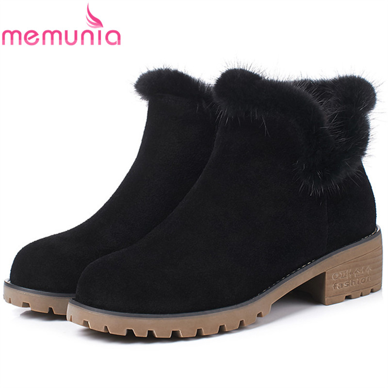 MEMUNIA Cow suede + mink ankle boots for women fashion shoes in autumn winter boots solid zip leather boots size 34-40 high quality lace girl dresses children dress party summer princess baby girl wedding dress birthday big bow pink for 100 160