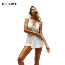 cb0fd1c28adf JuneLove 2018 summer women loose white lace hollow out jumpsuits female  deep v-neck lace up playsuits fashion solid rompers