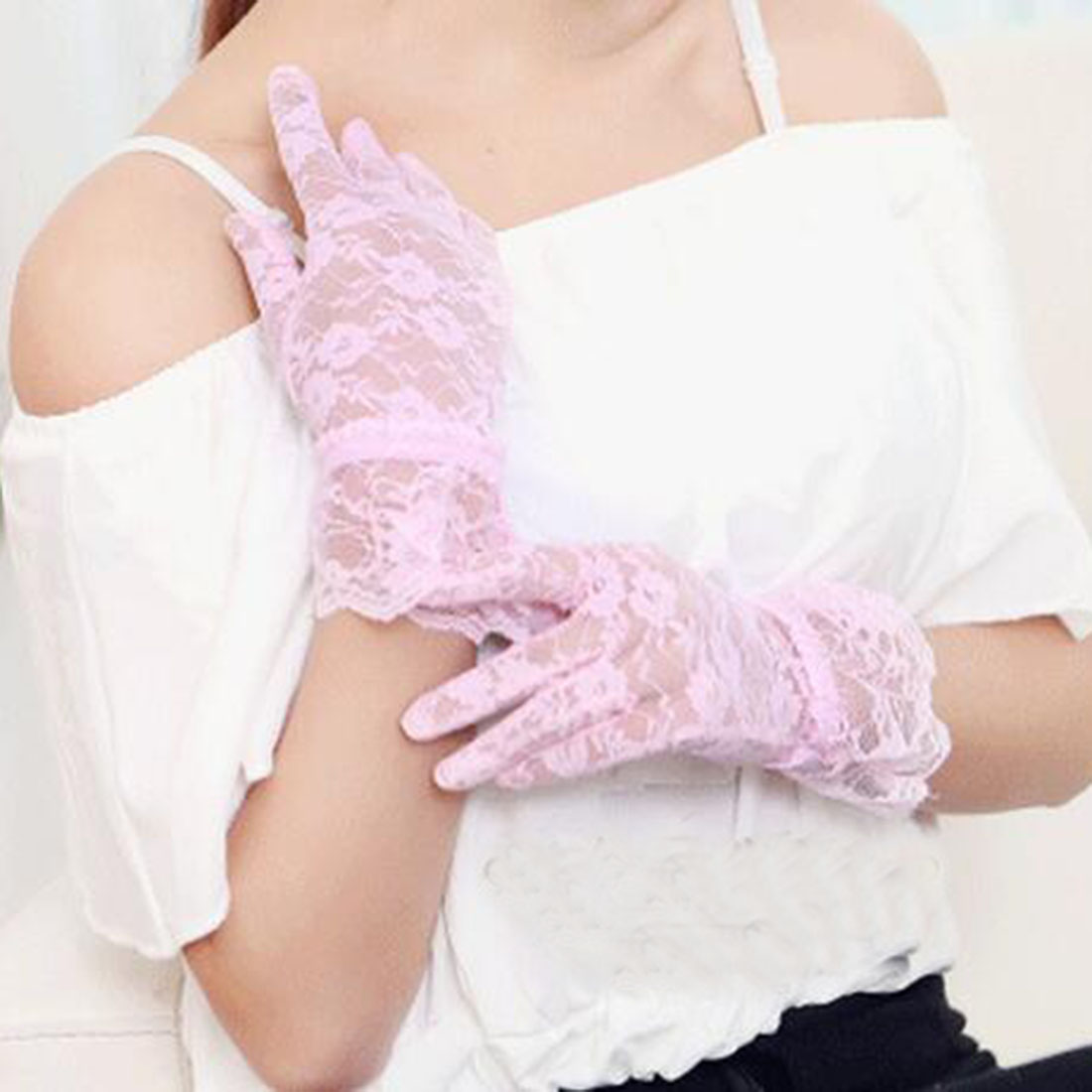 Sexy Lace Black Large Sunscreen Gloves 2018  Vintage Elastic Sun Protection Solid Sunscreen Summer Gorgeous Pink Finger Gloves