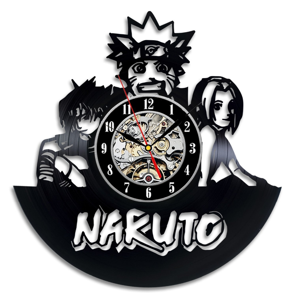 Ev ve Bahçe'ten Duvar Saatleri'de Naruto Vinil Kayıt Saati Duvar Sanatı Ev Dekor