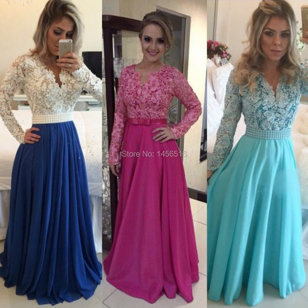 02b167e4f9 White Lace Blue Chiffon A line Prom Dress 2017 Long Sleeve Evening Gowns  vestidos de festa Sexy V Neck Formal Dress-in Prom Dresses from Weddings &  ...