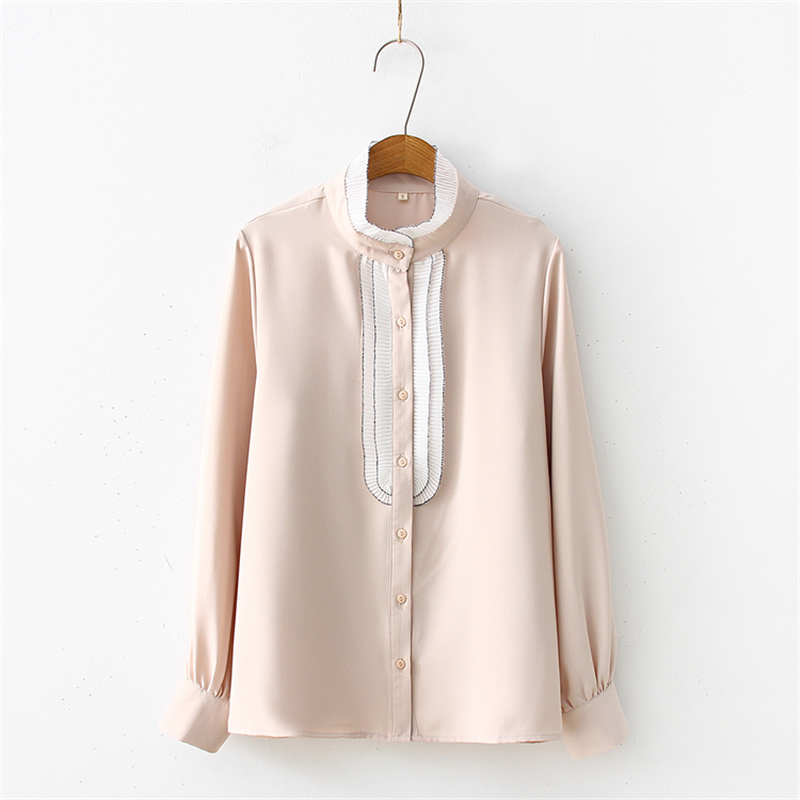 Merry Pretty Women Ruffles Patchwork Chiffon Blouses And Tops 2019 Spring Long Sleeve Mandarin Collar Elegant Shirt Solid Blusas in Blouses amp Shirts from Women 39 s Clothing