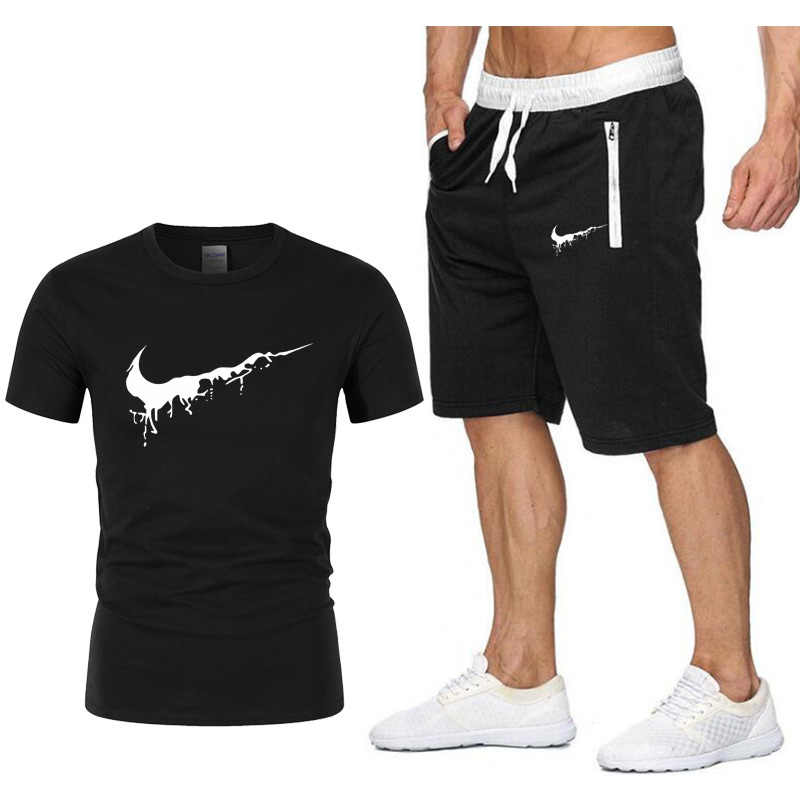 e39129d0153 2019 New Men Fashion Two Pieces Sets T Shirts+Shorts Suit Men Summer Tops  Tees Fashion Tshirt High Quality men clothing