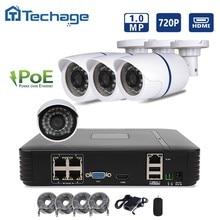 Hotting 4CH 1080 P POE NVR Kit 4 UNIDS 1.0mp 1200TVL Exterior Cámara del IP del P2P ONVIF IR Sistema de Seguridad CCTV Video Vigilancia Kits
