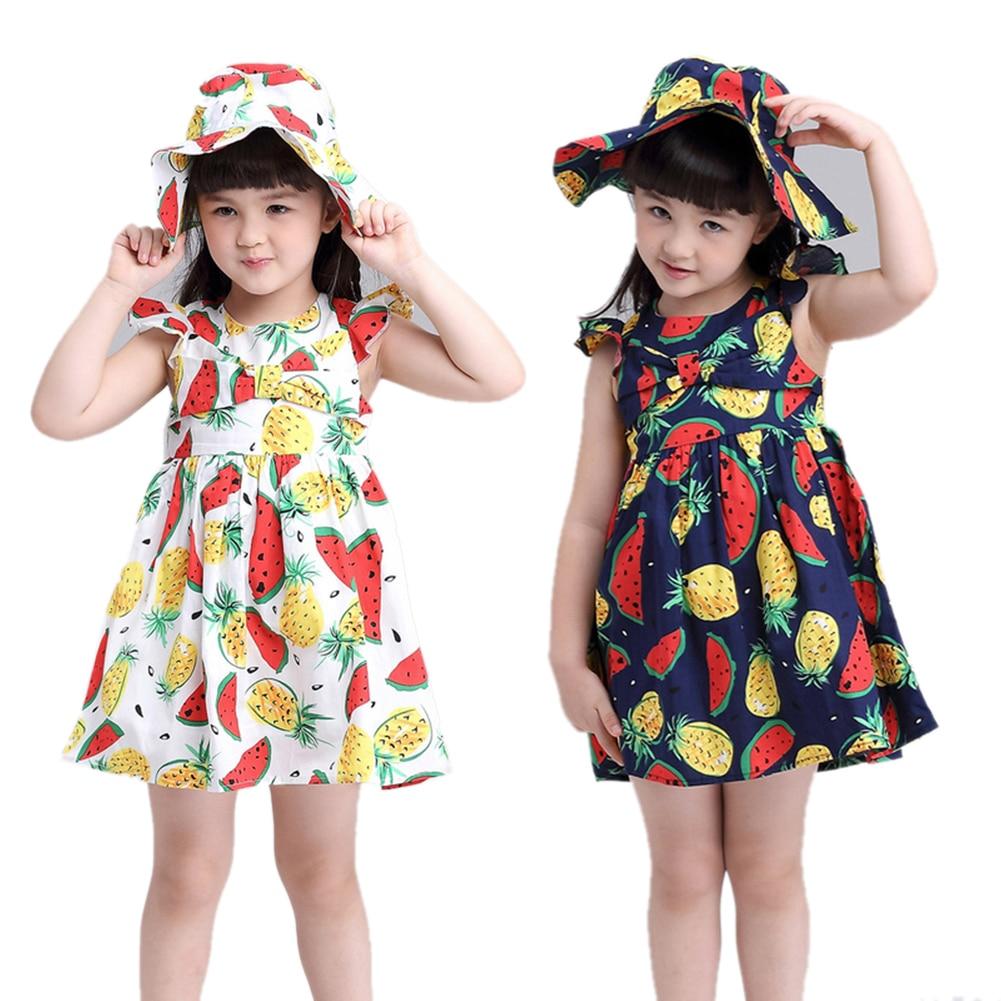 Summer Dress Girl Cute Sleeveless Watermelon Jackfruit Print A-line Girls Princess Dress With Summer Hat Girls Clothes cute rose print sleeveless princess dress for girl