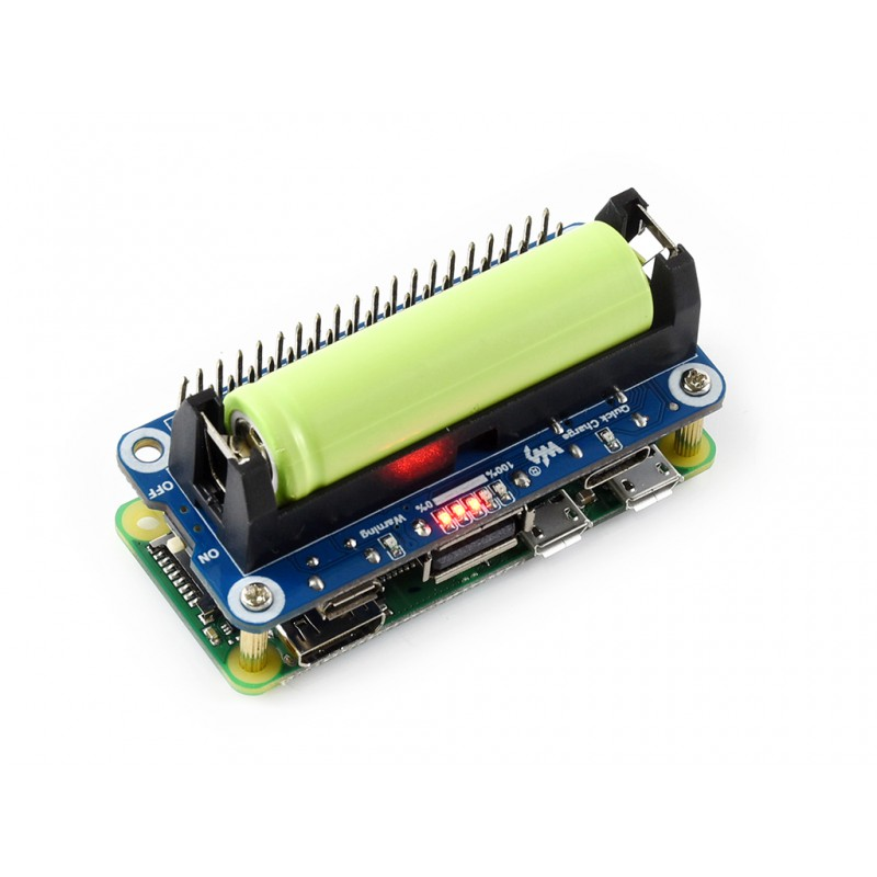 Li-ion Battery HAT For Raspberry Pi, 5V Regulated Output, Bi-directional Quick Charge,Provides Reverse Protection