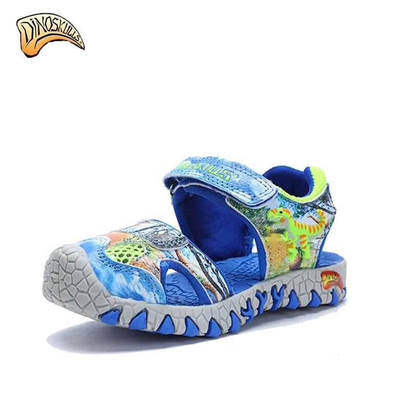 dcdaf5d1e9bd0f Dinoskulls 2017 summer kids shoes closed toe sandals boys girl designer toddler  sandals kids 3D Dinosaur Sandals LED Beach Shoes