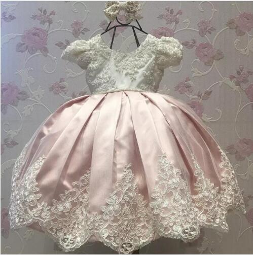 High Quality Cutomized Pink Baby Girl Dress Infant 1 Year Birthday Dress for Baby Girl Chirstening Dress