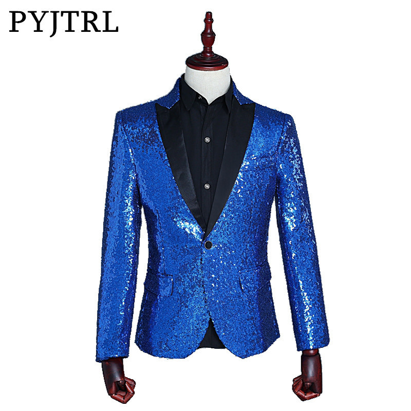 PYJTRL Male Slim Fit Jacket Fashion Gold Royal Blue Red Silver Sequin Blazer Men Stage Wear  Blazer Designs Costumes For Singers