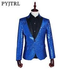 PYJTRL ชาย SLIM FIT แฟชั่น GOLD ROYAL BLUE สีแดงเงินเลื่อม Blazer STAGE Blazer Designs ชุดสำหรับนักร้อง