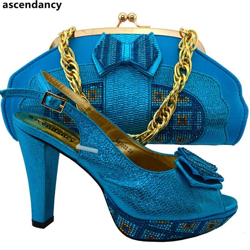 Himmel Mit Farbe Dekoriert Sets peach Tasche Taschen Party Entsprechen Zu Royal Schuh gelb Italienische Strass Und Blue Set Schuhe Nigerian blau zxF8w0Tq