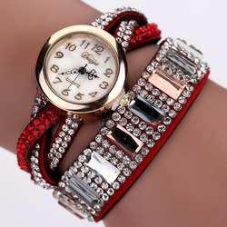 Модные кварцевые наручные часы с кожаной цепочкой