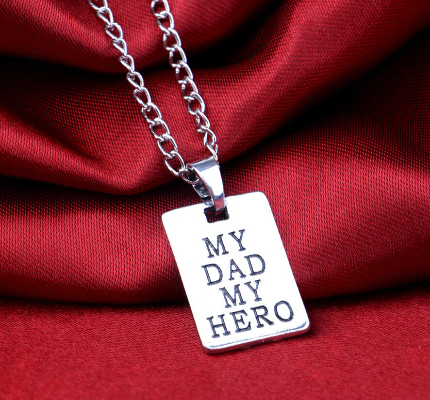 Fashion Men Jewelry Spcial My Dad My Hero Rectangle Pendant Necklace Chain Lettering Words Fathers Day Love Father Gifts