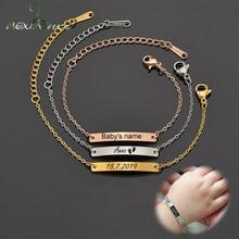 Nextvance nom personnalisé ID Bar Bracelet en acier inoxydable pour garçon fille enfants Bracelets meilleurs cadeaux d'anniversaire peuvent avec boîte