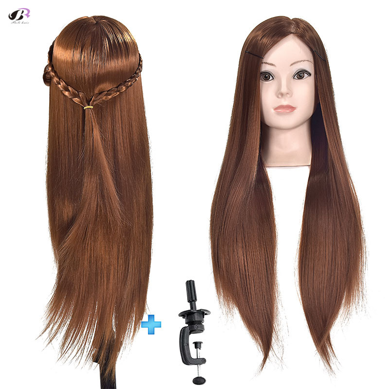 Best sale Female Mannequin Head Hairdressing Training Head Mannequin PVC And High Temperature Fibe Hair Heads with free gift