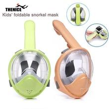 Складная трубка для подводного плавания с полным лицом, дыхательная маска для подводного плавания со съемным креплением для камеры, размер XS для kids4-18