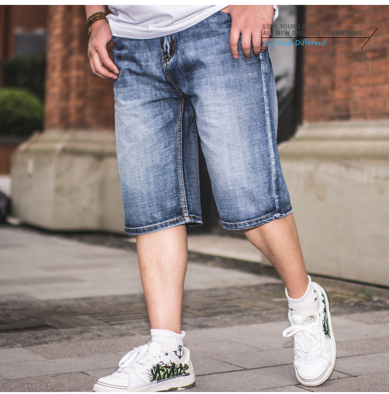 Fashion Style Plus Size Hip Hop Baggy Jeans Shorts Lightweight Summer Jeans For Men Regular Short Jeans Pants Mens 46 44 42 40