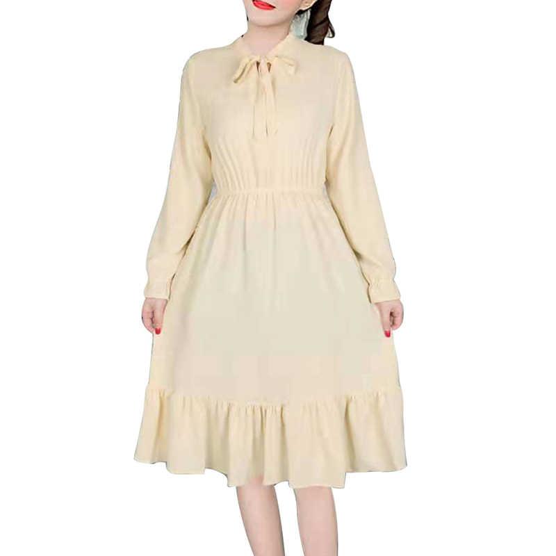 2019 春夏新長袖女性のドレスと弓ネックカジュアル甘いファッションドレスロシアホット爆発 4 スタイル