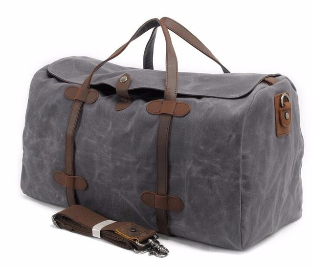 f69d16fd0354 Vintage Wax Canvas Luggage bag Men Travel Bags Carry on Large Men Duffel  Bags shoulder Weekend bag Overnight Big tote Handbag