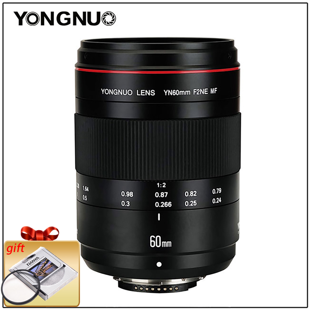 YONGNUO Lentilles Macro Lentille YN60mm F2 MF 0.234 m Macro Lentille 60mm pour Canon EOS 70D 5DMK II 5 DIII 600D 700D DSLR Nikon F2NE Yongnuo