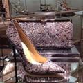 De lujo de Bling Bling Del Brillo Zapatos de Boda Partido de Las Mujeres Zapatos de Mujer Resbalón de Las Mujeres de moda Bombas Sexy Tacones Altos Señalaron Toe bombas