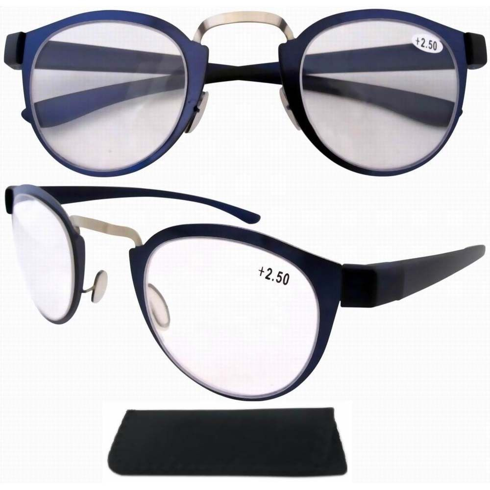 Women's Reading Glasses Hot Sale R11042 Stainless Steel Frame Rim Plastic Arms Retro Silver/blue Reading Glasses W/pouch Apparel Accessories