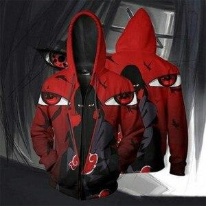 Image 4 - Uzumaki Наруто Косплей Толстовка акацуки плащ Наруто Учиха Итачи Какаши 3D печатные молнии с капюшоном куртка