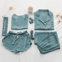 Women Pajamas 7pcs Sets Sexy Imitation Silk Pyjamas Set Loose Coat Camisole Long Pant Short Pant
