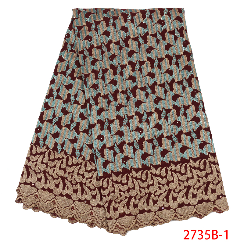African Swiss Lace Voile Fabric,High Quality French Lace Fabric With Stones,Nigerian Embroidered Cotton Laces KS2735B-1