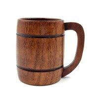 UESH-Wooden Cup Primitive Handmade Natural Wood Coffee Tea Beer Juice Milk Mug Pattern:H(420Ml)