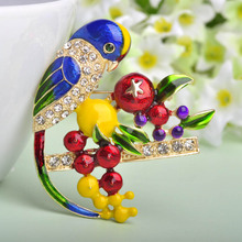 2016 Spring Enamel Brooch For Women Collares Birds Brooches Corsage Esmalte Unhas Diamante Embellishments Kihen Wedding Broach