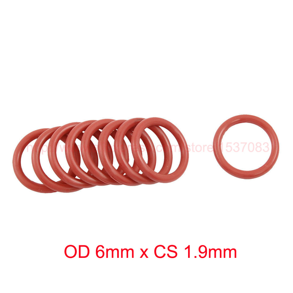 OD 6mm x CS 1 9mm red silicone rubber o ring orings o ring seals in Gaskets from Home Improvement