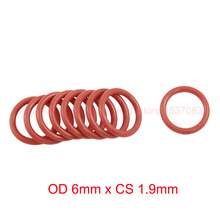 OD 6mm x CS 1.9mm red silicone rubber o-ring orings o ring seals