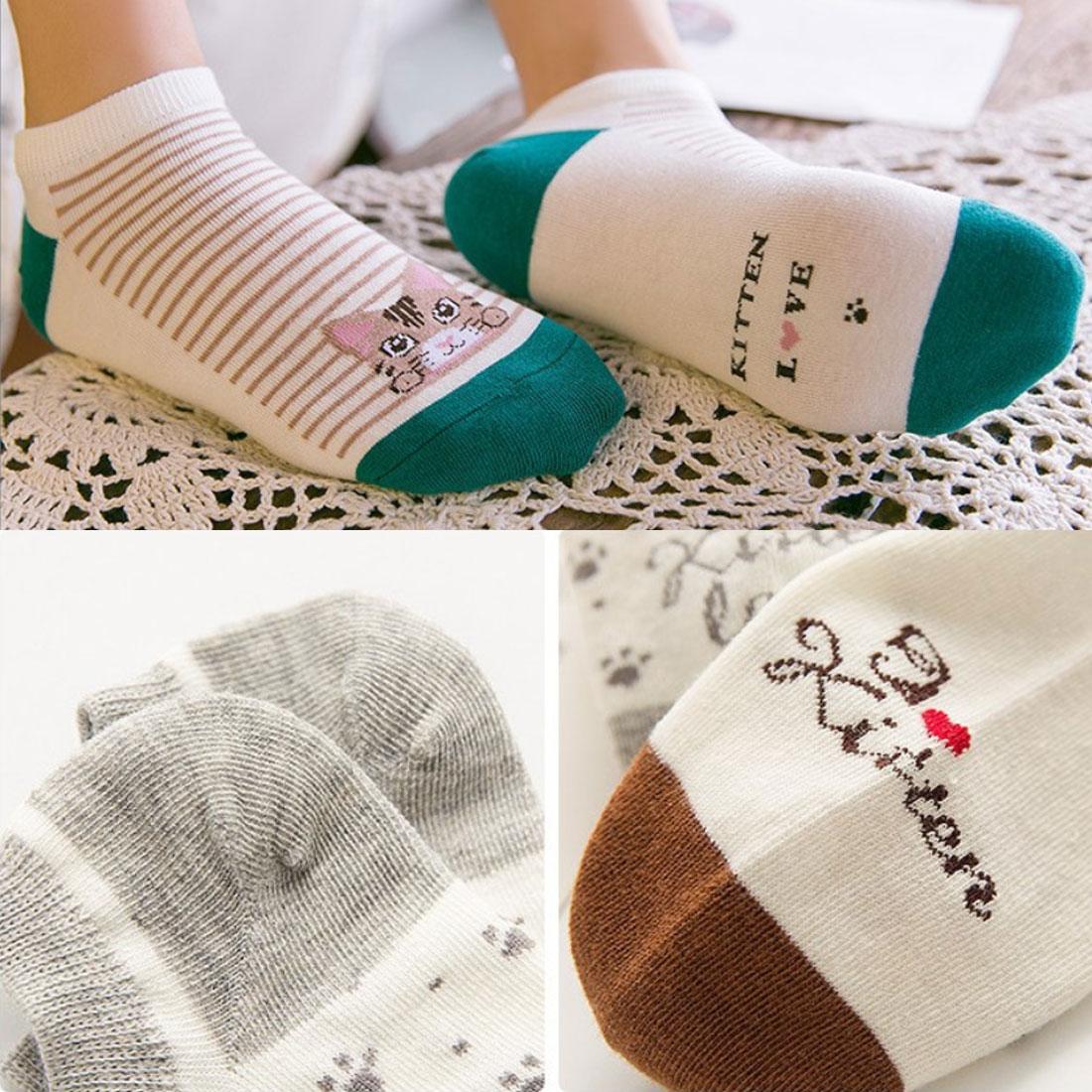 Top Sell 5 Pairs/Set Kawaii Women Socks Cute Cartoon Cat Striped Cotton Socks for Female Girls