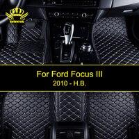 3D заказ автомобиля Коврики для Ford Focus III из искусственной кожи коврики Four Seasons Авто Ковры защитить чистый внутренние автомобильные коврики н