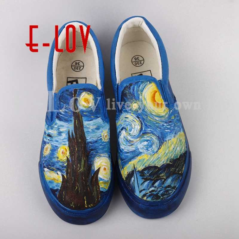 118dc6833e8 E-LOV Graffiti Hand Painted Starry Night Canvas Shoes High End Design  Abstract Paintings For
