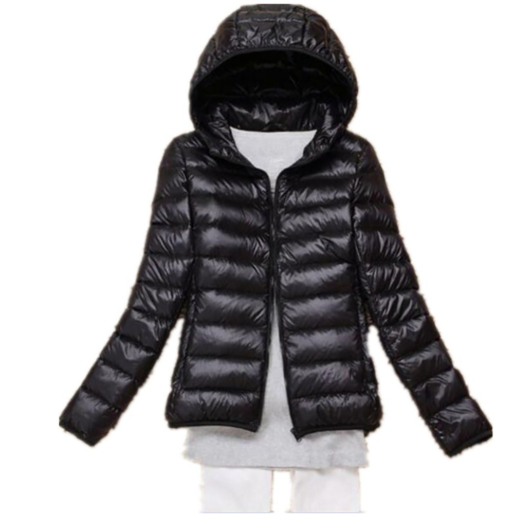 2018 New Autumn Winter Women Down Jacket Ultra Light Snow Coat Hooded 90% White Duck Down Jackets Thin Feather Jacket Plus size