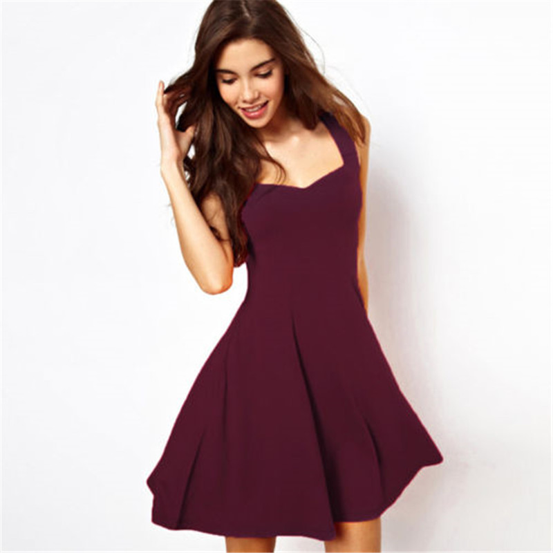 Sexy Women Summer Strappy Dress Casual Sleeveless Solid Elegant Dress New Arrival Party Evening Mini Dress For Women