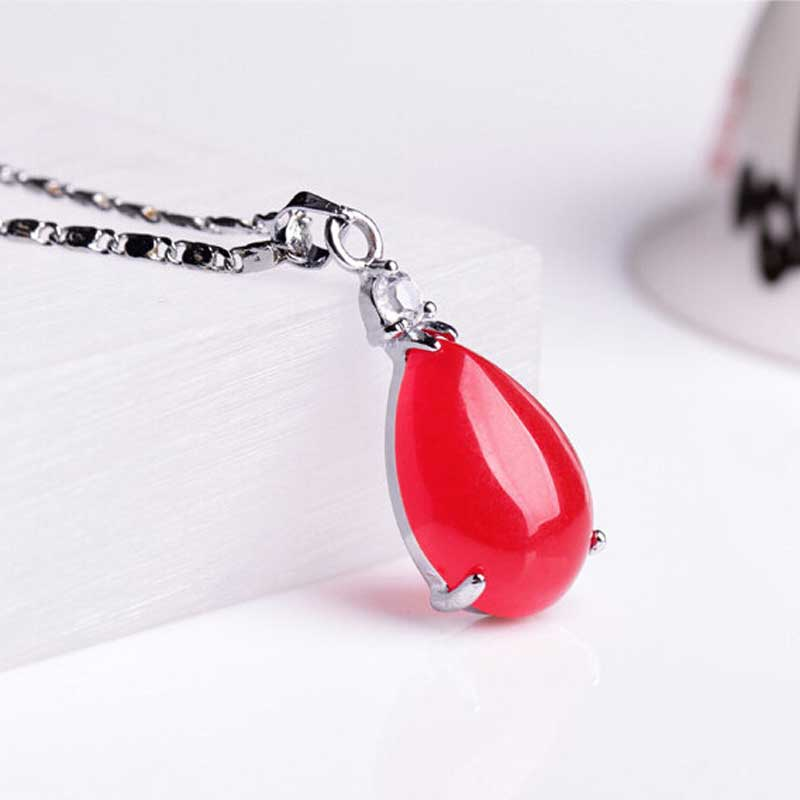 KYSZDL Natural Red Yu Stone Water Drop Pendant Fashion Women Plating Silver Necklace Pendant Jewelry Wholesale in Pendant Necklaces from Jewelry Accessories