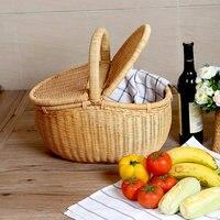 Ротанга корзина с фруктами с крышкой Пикник корзина открытый корзина для хранения