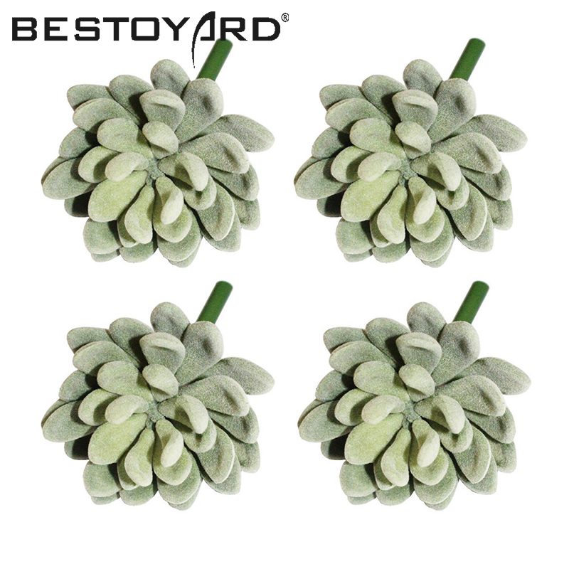 4pcs Realistic Artificial Succulent Cactus Small Plastic Succulent Plants Unpotted For Home Garden Decoration (Green)