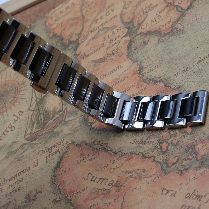 16mm 18mm 20mm Ceramic And Stainless Steel Watchband White AND black watch band watch strap Butterfly