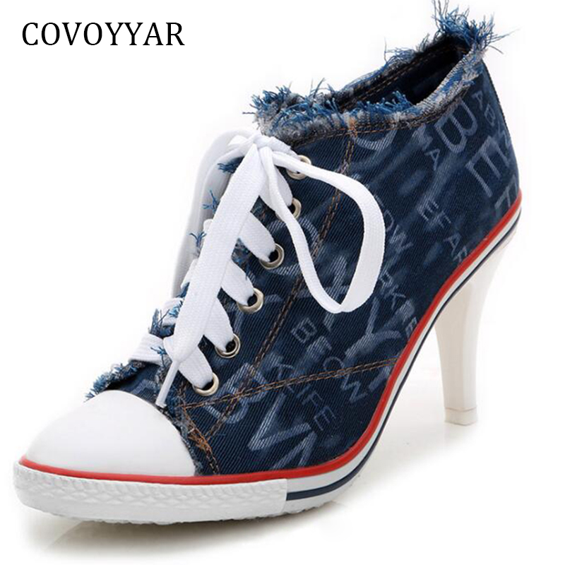 COVOYYAR 2019 Denim Canvas Shoes Women High Heels Pumps Fashion Fringe Woman Ankle Boots Lace Up High Top Casual Shoes WHH645COVOYYAR 2019 Denim Canvas Shoes Women High Heels Pumps Fashion Fringe Woman Ankle Boots Lace Up High Top Casual Shoes WHH645