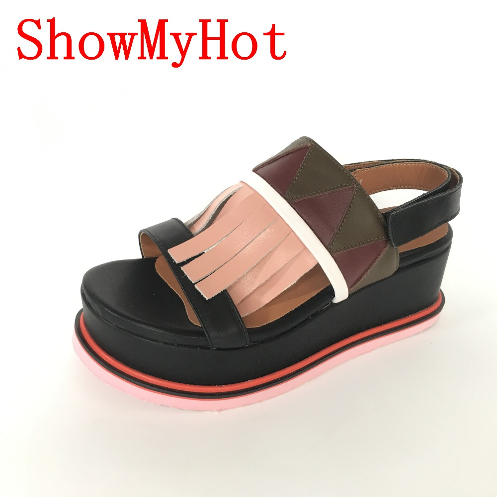 ShowMyHot New Woman Buckle Straw Women tassel Sandals Wedges Square Head Clear Shoe Genuine Leather Youth