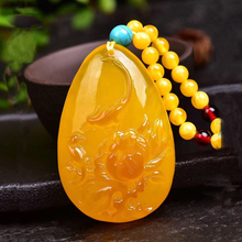 Free delivery of chicken oil yellow honey wax pendant happy eyebrow tip sweater chain amber necklace for men and women. цена 2017